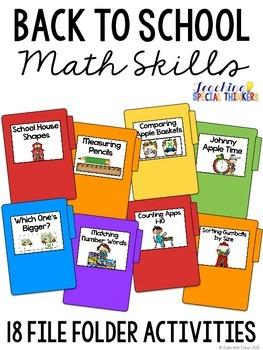 Back to School Math Skills File Folder Tasks (18 Tasks Included)