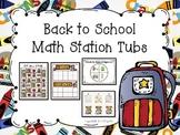 Back to School Math Station Tubs for Kindergarten