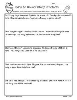Back to School Math Story Problems - 3 Leveled Worksheets - Add and Subtraction