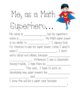 Back to School Math Superhero Activity