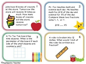 Back to School Math Task Cards 4th and 5th Grade Bundle- Common Core