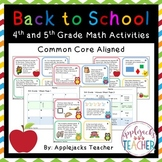 Back to School Math Task Cards 4th and 5th Grade Bundle- C
