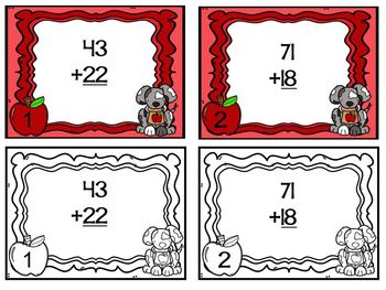 Back to School Math Task Cards Double Digit No Regrouping