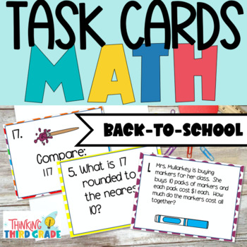 Back to School Math Task Cards SCOOT 3rd 4th Grade TEKS CCSS Aligned
