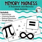 "#backtoschool Back to School Math Teamwork Game ""Memory Madness"""