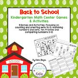 Back to School Kindergarten Math Center Games and Activities