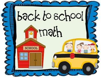 Back to School Math Unit 1st Grade
