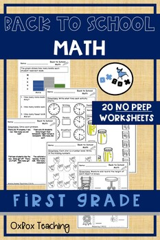 Back to School Math Worksheets First Grade Common Core NO PREP