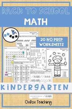 Back to School Math Worksheets Kindergarten: Common Core (NO PREP)