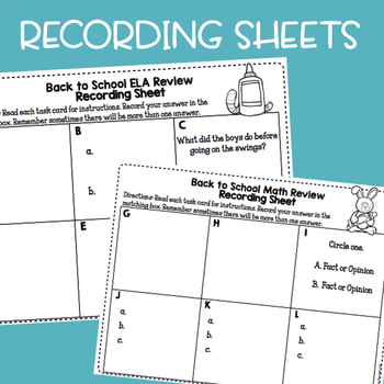 Back to School: Math and ELA Review Task Cards 3rd Grade