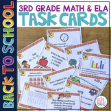 Back to School Math and ELA Review Task Cards 3rd Grade