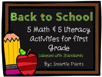 Back to School Math and Literacy Activities for First Grade