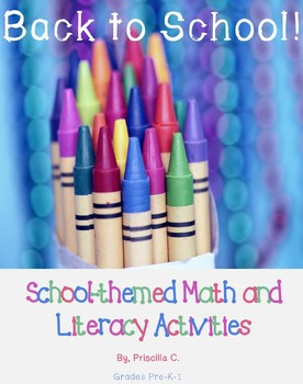 Back to School Beginning of the Year Math and Literacy Centers Kindergarten
