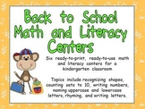 Back to School Kindergarten Math and Literacy Centers