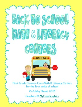 Back to School Math and Literacy Centers for First Grade