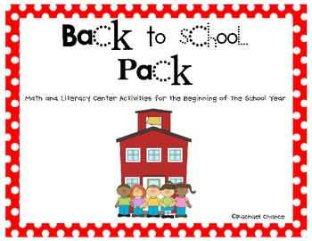 Back to School Math and Literacy Games Pack