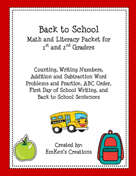 Back to School Math and Literacy Packet 1st and 2nd Grade