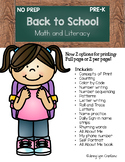 Back to School Pre-K Math and Literacy