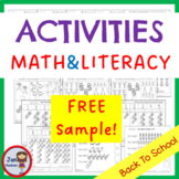 FREE SAMPLE!!!! Back to School Math and Literacy Worksheets