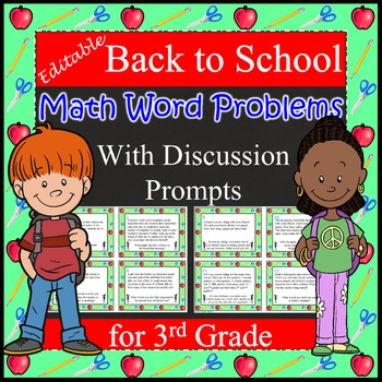 Back to School Math Word Problems with Discussion Prompts