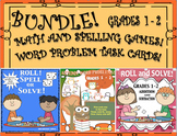 Bundle Fall Review Math Spelling Games!  Word problem Task Cards Grades 1 - 2
