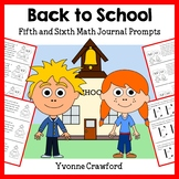 Back to School Math Journal Prompts (5th and 6th grade)