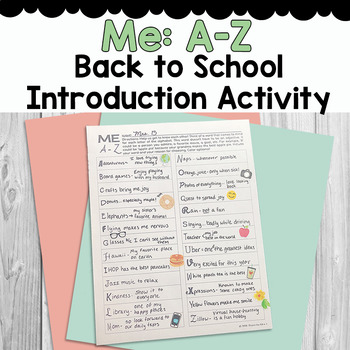 Back to School - Me: A-Z Student introduction activity