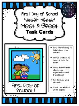Back to School- Meet & Greet Task Cards