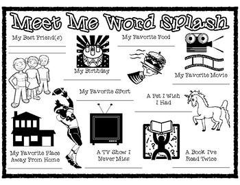Back to School Meet Me Word Splash Mix Pair Share Activity