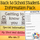 Meet the Teacher Back to School Student Information Pack
