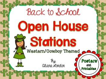 Back to School: Meet and Greet or Open House Stations - Western/Cowboy Themed