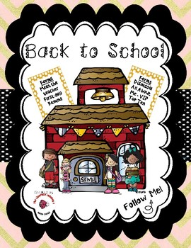 Back to School / Meet the Teacher Bundle - Metallic Gold Chevron Pink Background