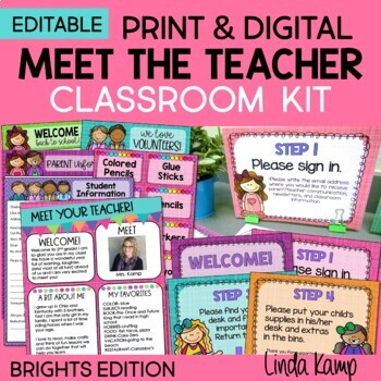 Back to School Meet the Teacher EDITABLE Forms Signs Labels BRIGHT