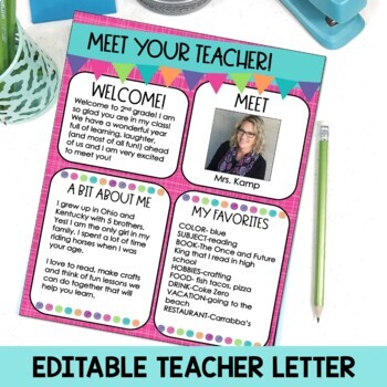 Meet the Teacher Back to School Night Parent Forms Stations Labels BRIGHTS