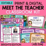 Meet the Teacher Templates Forms Posters & PowerPoint Print + Digital BRIGHTS