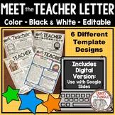 Back to School Meet the Teacher Editable Letter Template