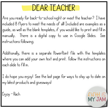 Back to School // Meet the Teacher Handouts :: EDITABLE