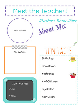 Back to School Meet the Teacher Info Sheet