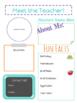 Back to School Meet the Teacher Info Sheet