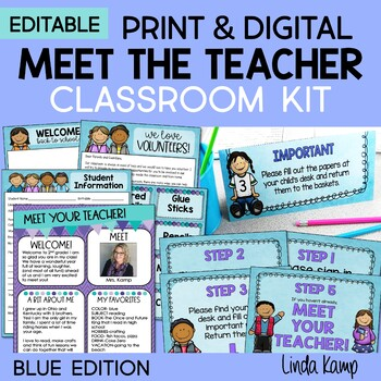 Back to School Meet the Teacher Kit EDITABLE Forms Signs Labels BLUES
