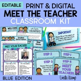 Meet the Teacher Back to School Night Parent Forms Stations Labels BLUE