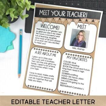 Back to School Meet the Teacher Kit EDITABLE Forms Signs Labels BURLAP