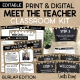 Back to School Meet the Teacher Kit EDITABLE Forms Signs Labels BURLAP
