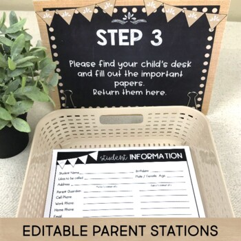 Meet the Teacher Back to School Night Parent Forms Stations Labels BURLAP