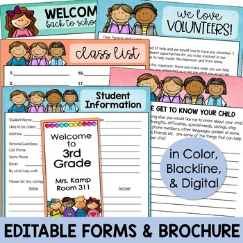 Back to School Meet the Teacher Kit EDITABLE Forms Signs Labels PASTELS