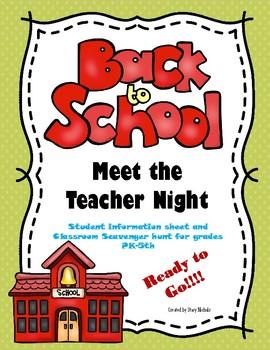 Back to School Meet the Teacher Night Scavenger Hunt