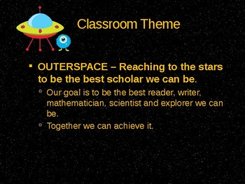 Back to School, Meet the Teacher PowerPoint Space Theme