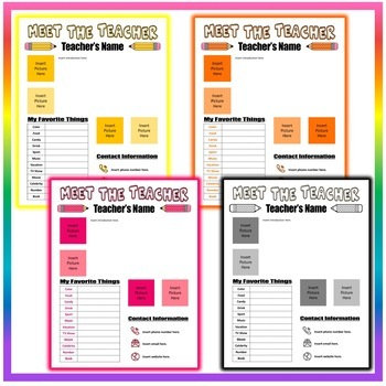 Back to School Meet the Teacher Template #2 - 8 Different Colors - EDITABLE!