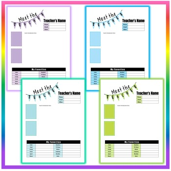 Back to School Meet the Teacher Template #3 - 8 Different Colors - EDITABLE!