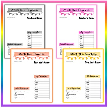 Back to School Meet the Teacher Template #4 - 8 Different Colors - EDITABLE!